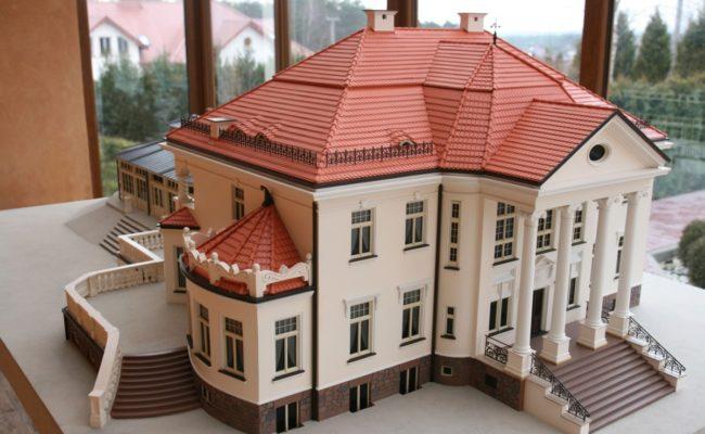 miniatura Pałacu w Tłokinii widok z lotu ptaka